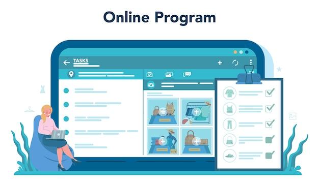Online-service oder plattform für merchandiser speichern. designer einkaufen und präsentieren. Premium Vektoren