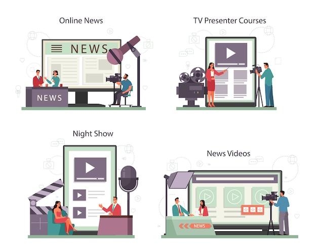 Online-service oder plattform-set für fernsehmoderatoren. fernsehmoderator im studio. der sender spricht vor der kamera und berichtet über neuigkeiten. online-nachrichten, nachtshow, tv-moderatorenkurs. isolierte vektorillustration Premium Vektoren