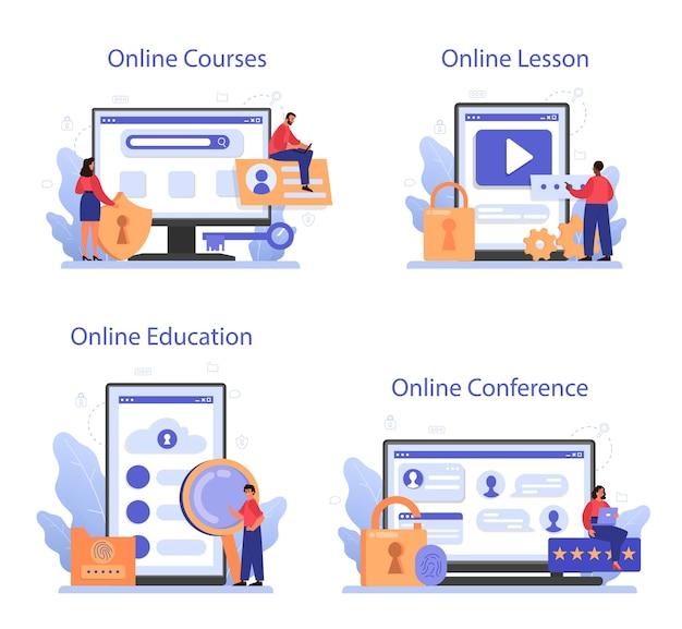 Online-service oder plattformset für cyber- oder web-sicherheitsspezialisten. Premium Vektoren