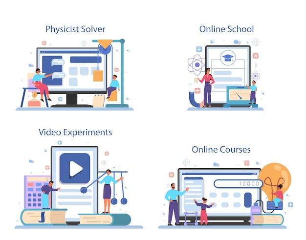 Online-service oder plattformset für physikfächer. wissenschaftler erforschen elektrizität, magnetismus, lichtwelle und kräfte. online-löser, kurs, schule, videoexperiment. Premium Vektoren