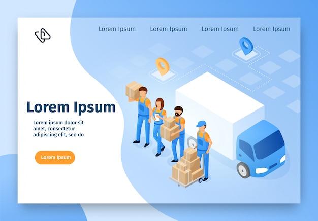 Online-service-vektor-website für umzugsunternehmen Premium Vektoren