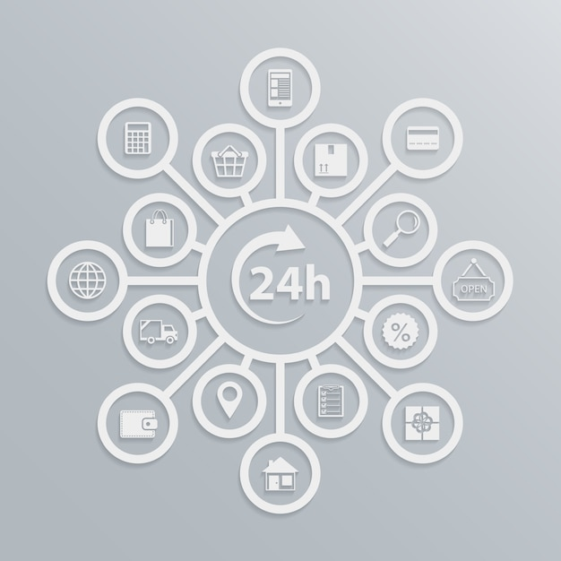 Online-shop 24 stunden kundenservice diagramm, wie e-commerce-website arbeitet vektor-illustration Kostenlosen Vektoren