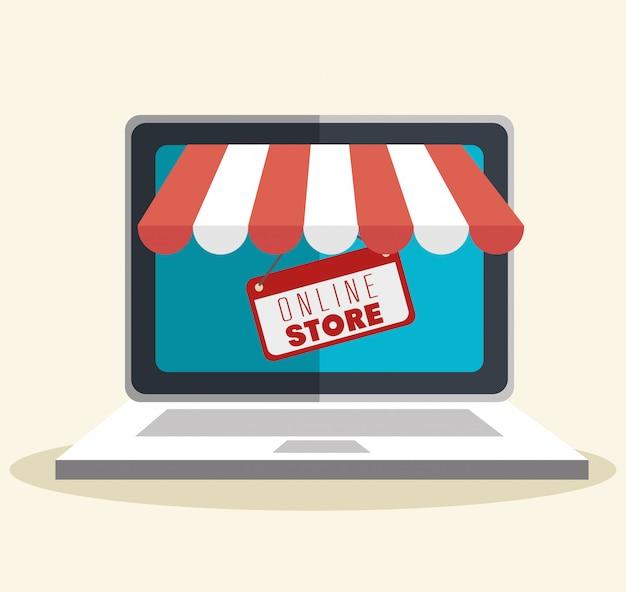Online-shop einkaufen illustration Kostenlosen Vektoren