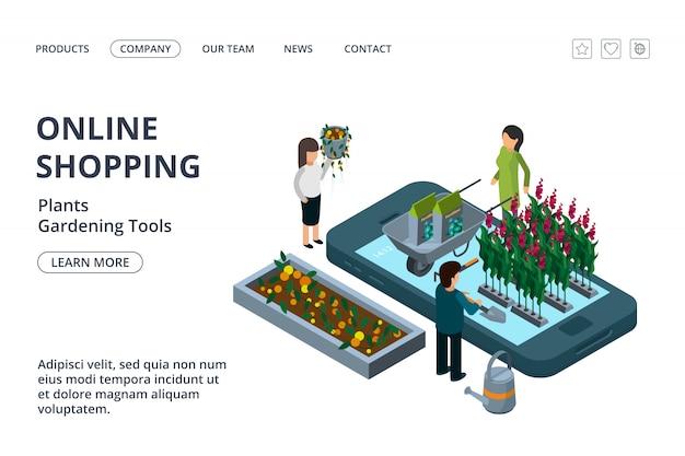 Online-shop für gartengeräte, pflanzen und blumen. isometrische online-garten landing page vorlage Premium Vektoren