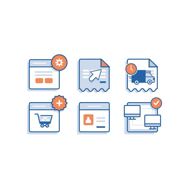 Online shop icon apps Premium Vektoren