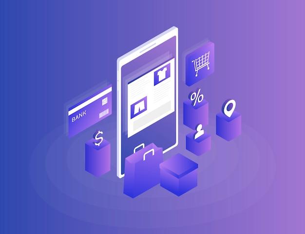 Online-shop, internet-shopping. telefon, bankkarte und einkaufstasche des isometrischen bildes auf blau. 3d. moderne darstellung Premium Vektoren