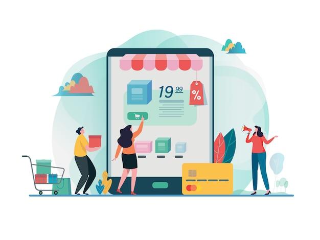 Online-shop kaufen einkaufen auf dem handy. Premium Vektoren