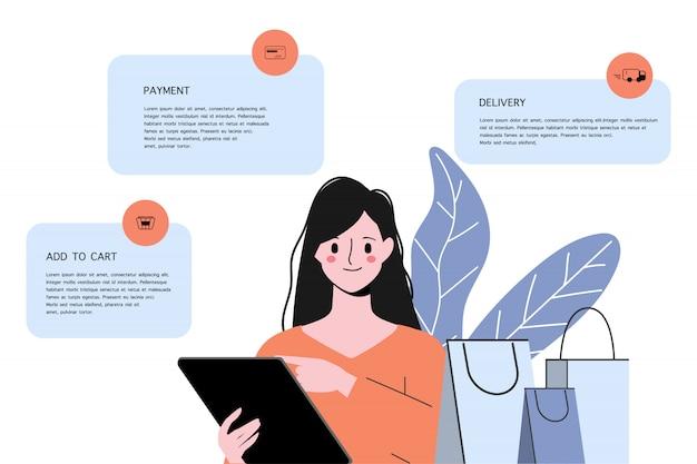 Online-shop-konzept mit kunden einkaufen. online-verkaufsförderungskonzept. Premium Vektoren