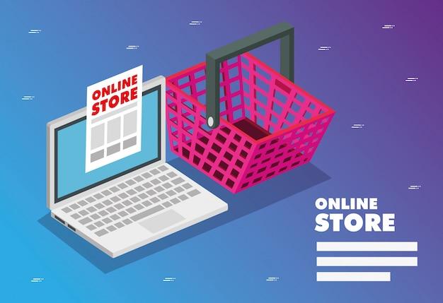 Online-shop mit laptop Premium Vektoren
