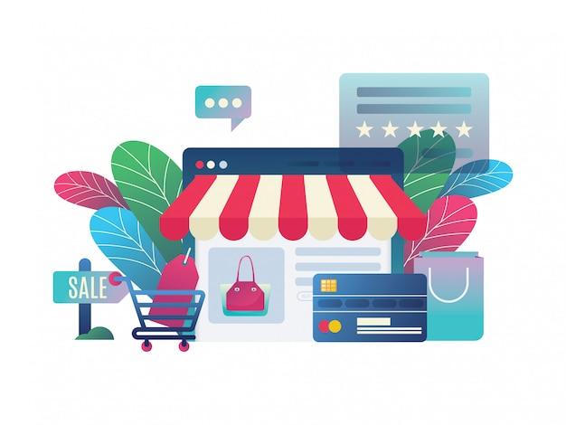 Online-shop mit modernen stil Premium Vektoren