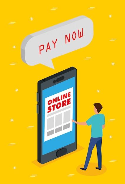 Online-shop mit smartphone Premium Vektoren