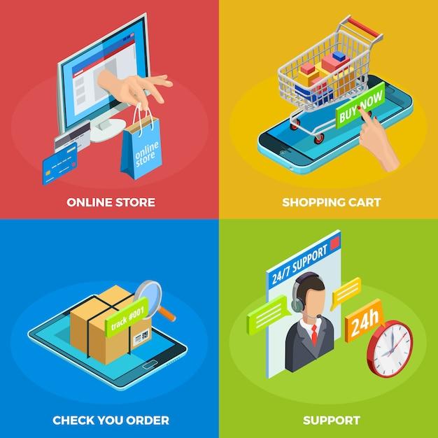 Online-shopping 4 isometrische icons square Kostenlosen Vektoren