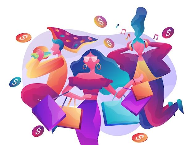Online-shopping-abbildung Premium Vektoren