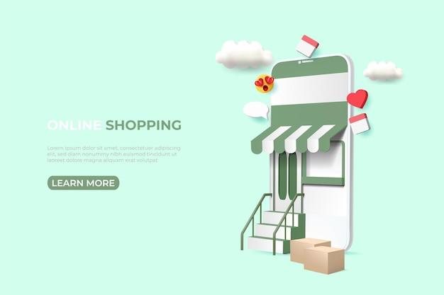 Online shopping anzeigen banner. illustration mit smartphone. social media post vorlage. Premium Vektoren