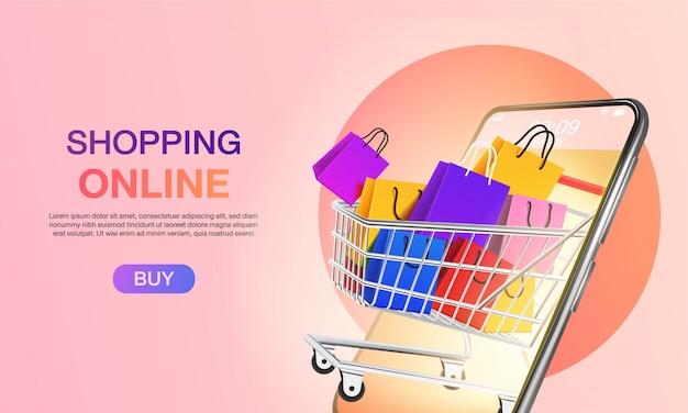 Online-shopping auf der website oder auf der zielseite für mobile anwendungen marketing und digitales marketing. Premium Vektoren