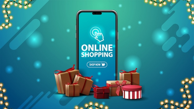 Online-shopping-banner mit einem großen smartphone mit geschenkboxen auf blauem hintergrund Premium Vektoren