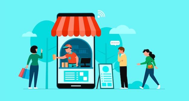 Online-shopping-banner, vorlagen für mobile apps, flaches konzeptdesign Kostenlosen Vektoren