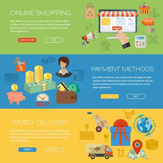 Online-shopping-banner Premium Vektoren