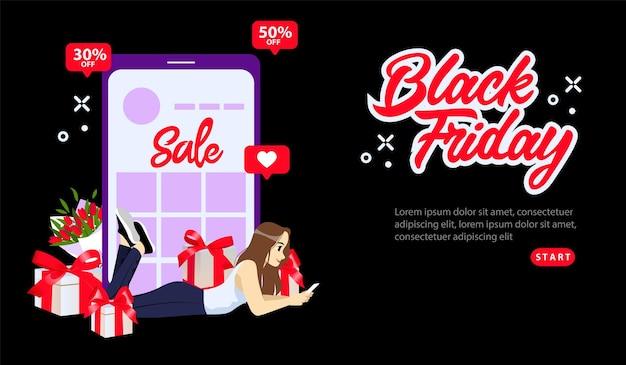 Online-shopping, black friday super sale-konzept. black friday sonderangebote mit 30 oder 50 rabatt auf den preis. mädchen, das online mit smartphone einkauft. Premium Vektoren