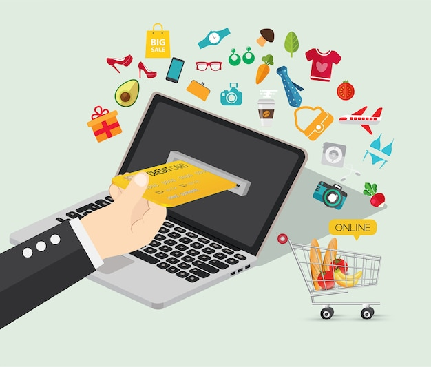 Online-shopping-e-commerce-konzept Premium Vektoren