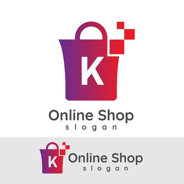Online-shopping ersten buchstaben k logo design Premium Vektoren
