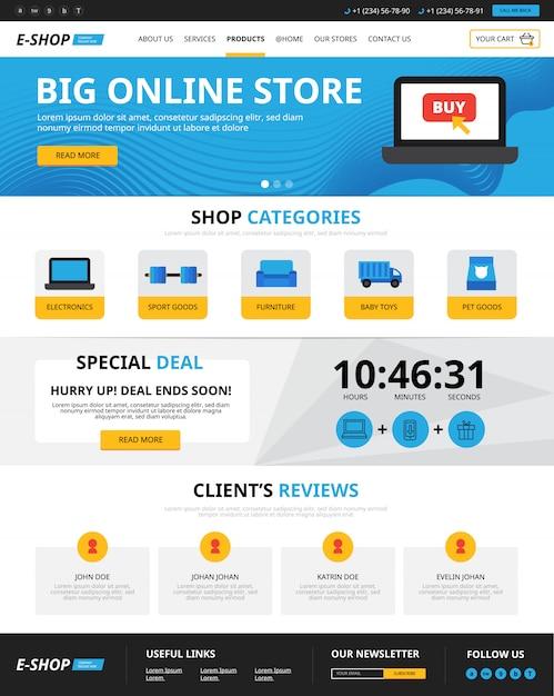 Online-shopping für webseiten Kostenlosen Vektoren