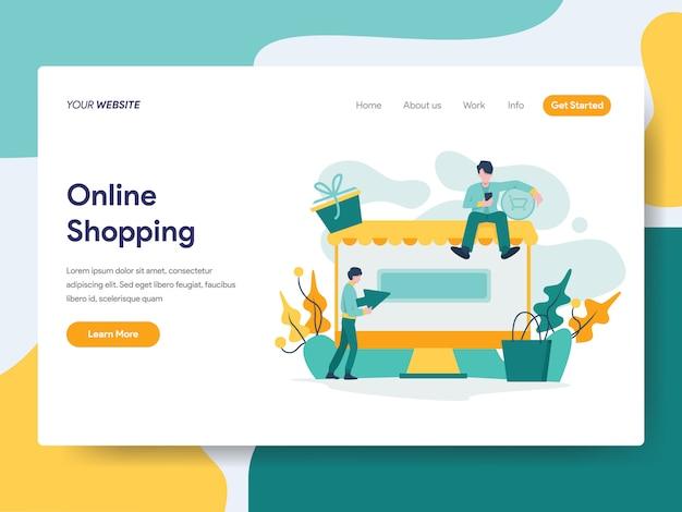 Online-shopping für website-seite Premium Vektoren