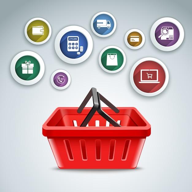 Online-shopping hintergrund-design Kostenlosen Vektoren