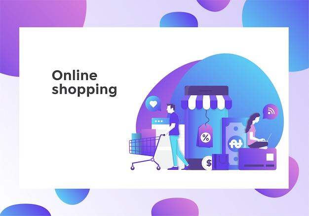 Online-shopping-illustrationsseite Premium Vektoren