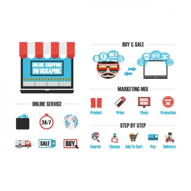 online shopping infografik vorlage download der kostenlosen vektor. Black Bedroom Furniture Sets. Home Design Ideas