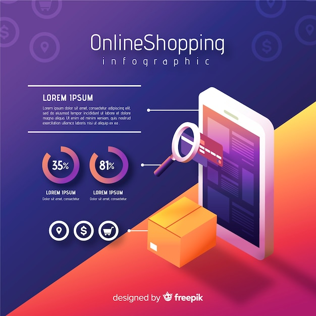 Online-shopping-infografik Kostenlosen Vektoren