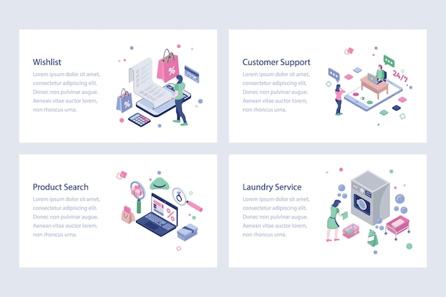 Online-shopping isometrische illustrationen Premium Vektoren