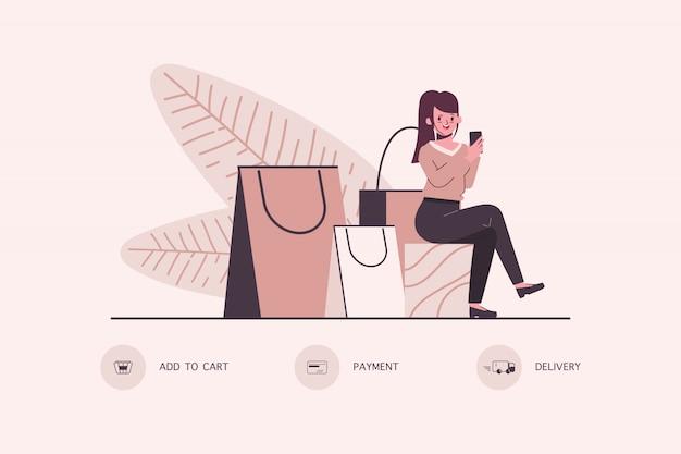 Online-shopping-konzept auf dem handy. Premium Vektoren