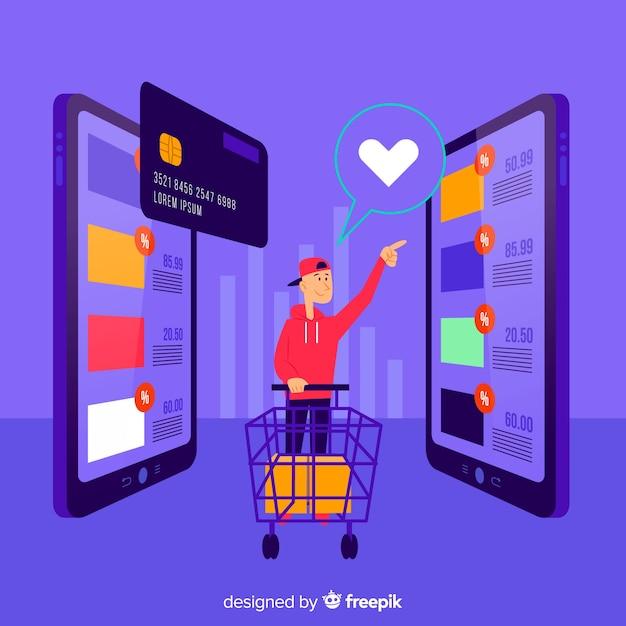 Online-shopping-konzept für die landingpage Kostenlosen Vektoren