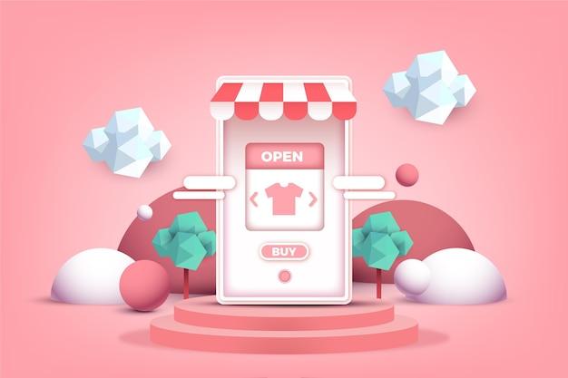 Online-shopping-konzept für mobile apps im 3d-effekt Kostenlosen Vektoren