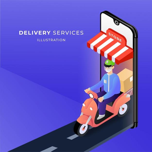 Online-shopping kurier lieferung illustration Premium Vektoren