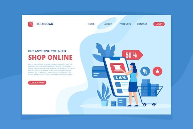 Online-shopping-landing-page-vorlage Kostenlosen Vektoren