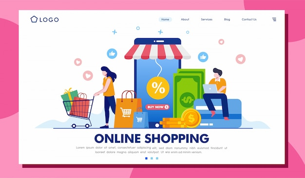 Online-shopping landing page website illustration vorlage Premium Vektoren