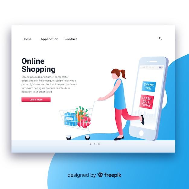 Online-shopping-landing-seitenvorlage Kostenlosen Vektoren