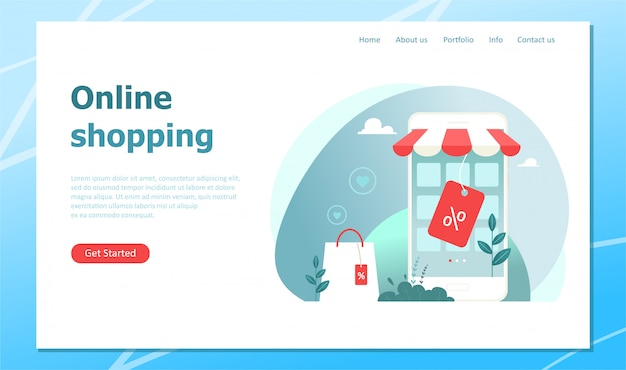 Online-shopping, landingpage mit konzeptillustration. illustration im flachen stil. Premium Vektoren