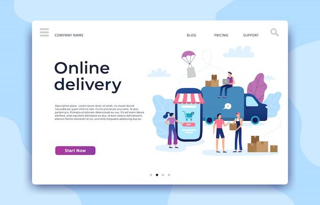 Online-shopping-landingpage. shopwebsite, moderne speichergeschäftsseiten und illustration der internet-zahlung des elektronischen geschäftsverkehrs Premium Vektoren