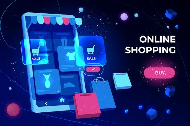 Online-shopping-landingpage Kostenlosen Vektoren