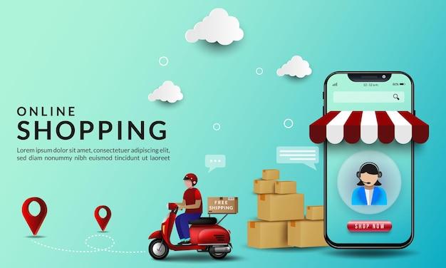 Online-shopping mit abbildungen zur lieferung von waren mit einem motorrad Premium Vektoren