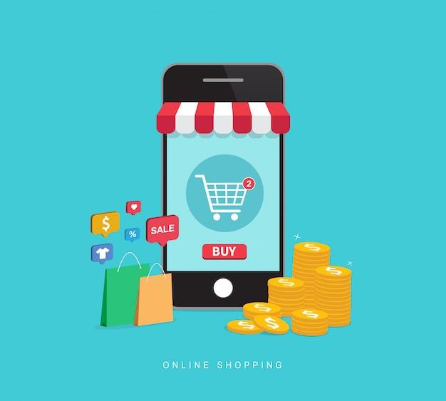 Online-shopping mit dem smartphone. Premium Vektoren