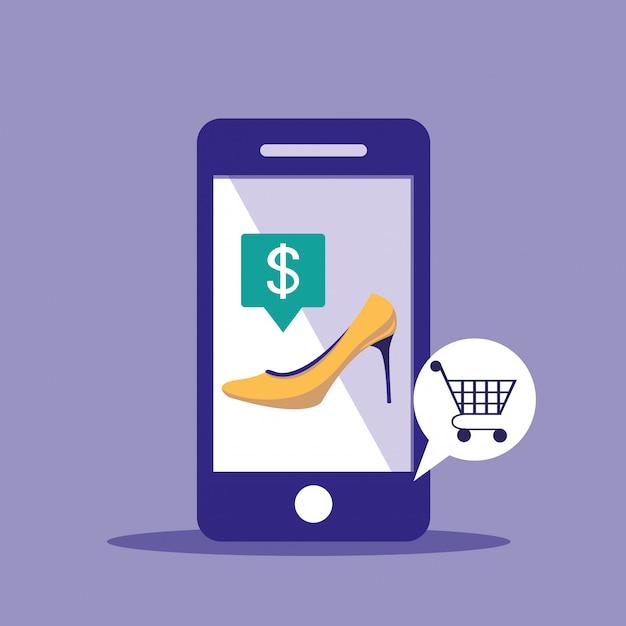 Online-shopping mit smartphone und fersenschuh der frau Premium Vektoren