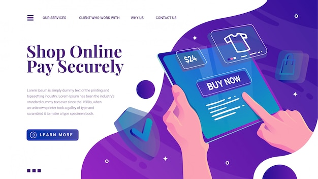 Online-shopping mit telefontablett und zielseite für sicherheitszahlungen Premium Vektoren