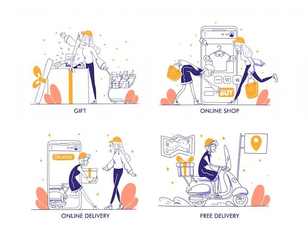 Online-shopping oder e-commerce-konzept im modernen handgezeichneten designstil. einkaufstasche, warenkorb, troli, geschenk, preis, online-lieferung, kostenlose lieferung, online-zahlung, shop, shop-illustration Premium Vektoren