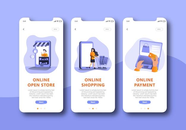 Online-shopping onboarding-bildschirm mobile ui-design Premium Vektoren