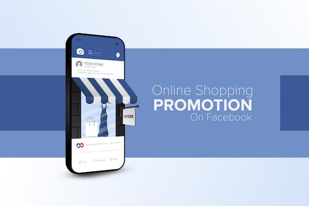 Online-shopping-promotion auf social media mobile app Premium Vektoren