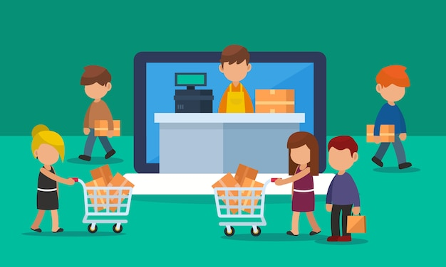 Online-shopping-schaufenster auf laptop oder computer mit kundenverkehr. illustration Premium Vektoren